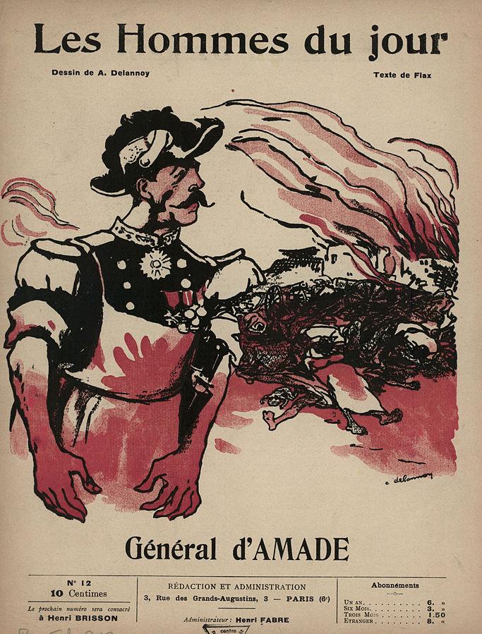 """Couverture de l'hebdomadaire libertaire """"Les hommes du jour"""" stigmatisant la pacification de la Chaouïa par d'Amade."""