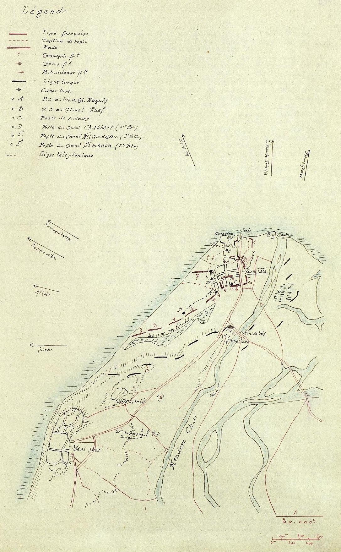 Carte des positions françaises en début d'après-midi le 25 avril