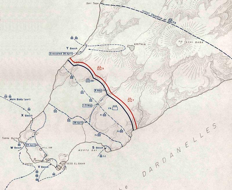 Carte des plages de la pointe sud de la péninsule et des objectifs à atteindre le jour J.