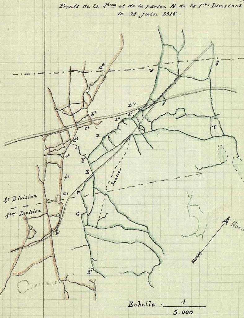 Positions françaises (surlignées en rouge) et positions ottomanes (surlignées en vert) avant l'attaque.