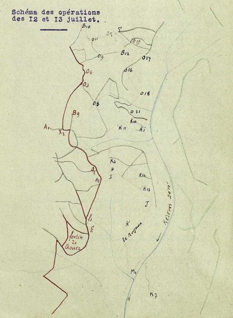 Carte du front au soir du 12 juillet.